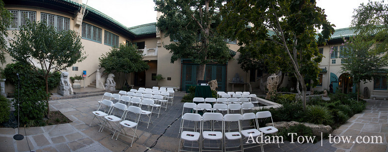 Panorama of the Pacific Asia Museum courtyard where Autumn Gem was screened.