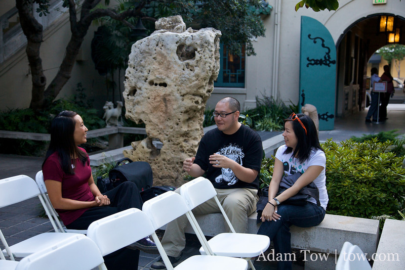Talking with Andy and Irene before the screening.