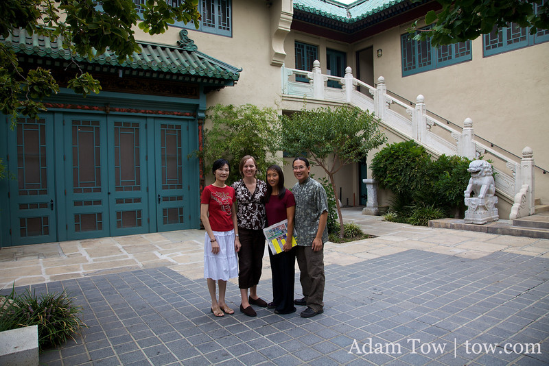 Adam, Rae, Becky and Amelia in the Pacific Asia Museum Courtyard, the day after the Autumn Gem Screening.