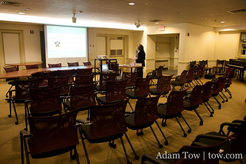 Setting up the presentation in the Forbes Residential College Multipurpose Room.