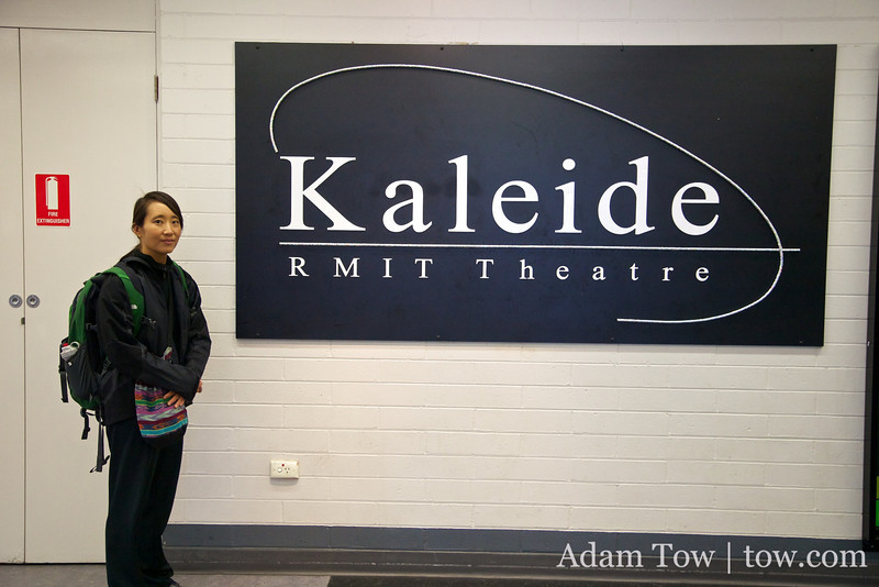 Rae in front of the Kaleide Theatre entrance.