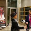 Mrs. Tow answers a question during a live interview for Omni TV Channel 8.