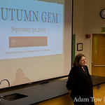 Barbara Molony, History Department Chair, introduces Autumn Gem at Santa Clara University.