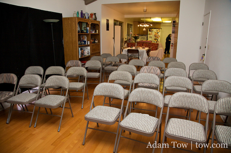 The chairs are set up for the screening later in the evening.