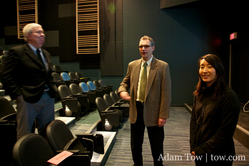 Professor Jan Walls, Founding Director of the David Lam Center, and current Director of the center, Paul Crowe, talk with Rae before the screening.