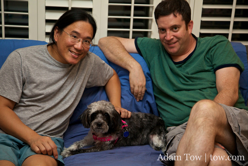 After a Miss China dinner at David Simon's house with their new dog, Luna.