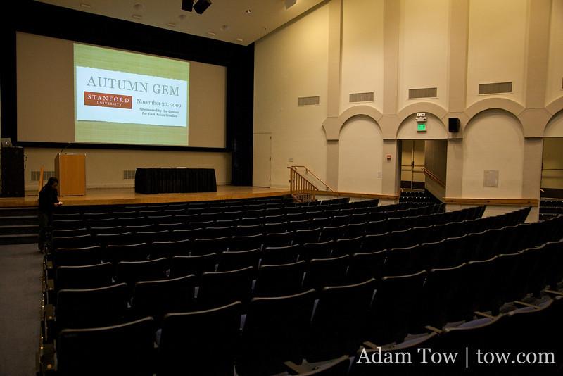 Setting up in Cubberley Auditorium.
