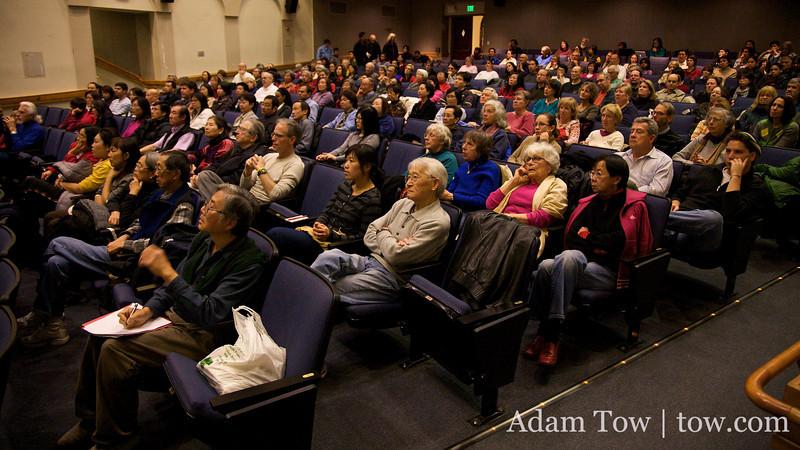 Audience panorama shot from Autumn Gem screening at Stanford University.