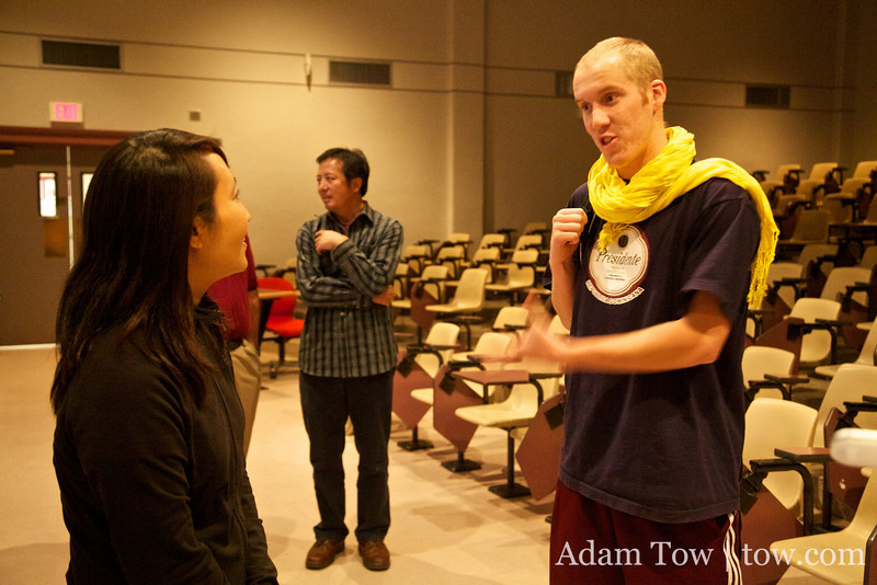 French exchange student, Paul, talks with Rae after the screening.