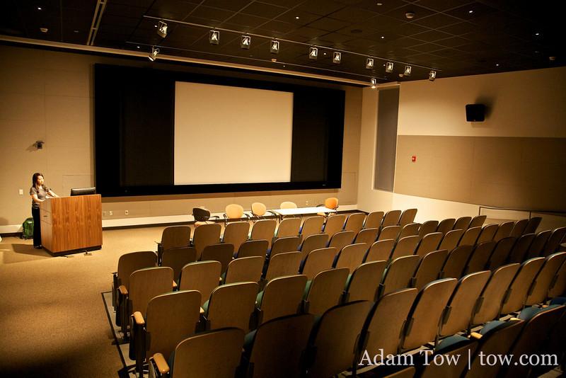 Inside the auditorium.