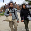 Bay Area natives, Amos and Rae walk to the screening location at UMD in the nippy air.