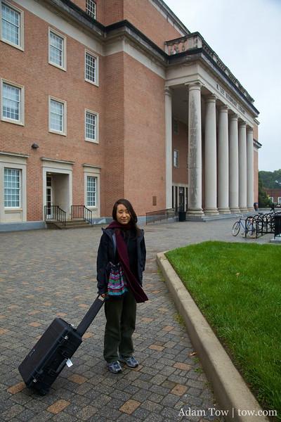 Rae outside the UM Hornbake Library.