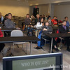 Attendees listen to Rae's opening presentation at the Autumn Gem screening.