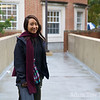 Rae along the walkway to Hornbake Library at University of Maryland, College Park.