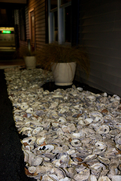 Oyster shells line the entrance to the restaurant.