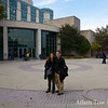 Adam and Rae outside the University of Maryland-Baltimore County's library.