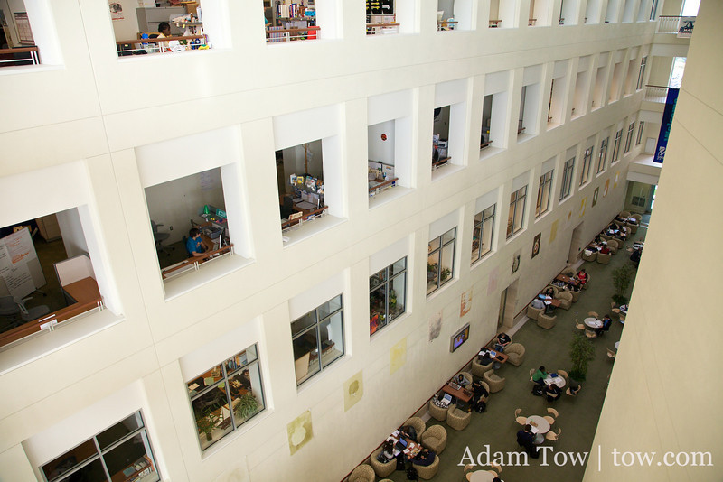 Inside the Campus Center at the University of Massachusetts, Boston.