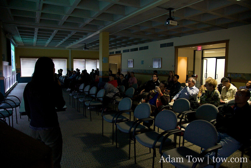 Rae answers questions from the crowd following the screening of Autumn Gem at the University of Massachusetts, Boston.