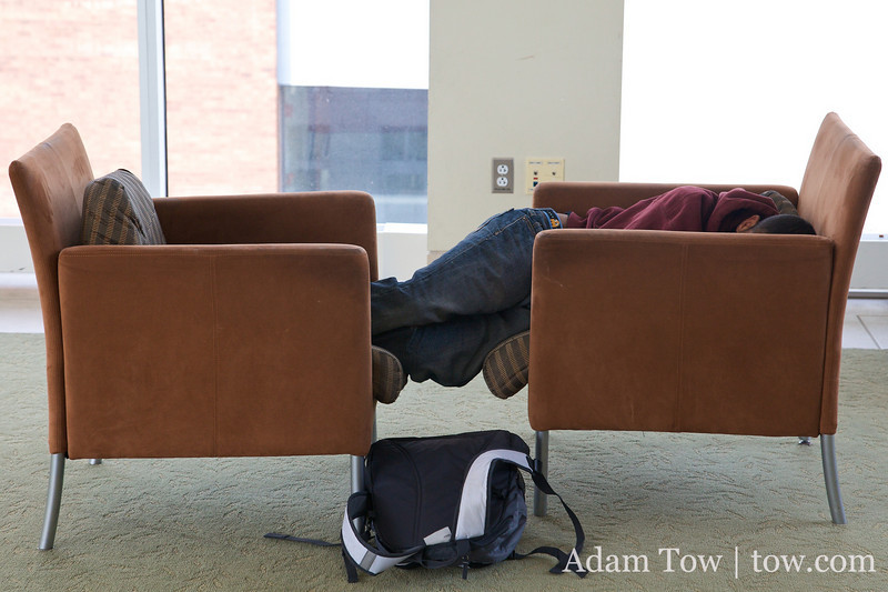 In-between classes, sleeping is a common sight.