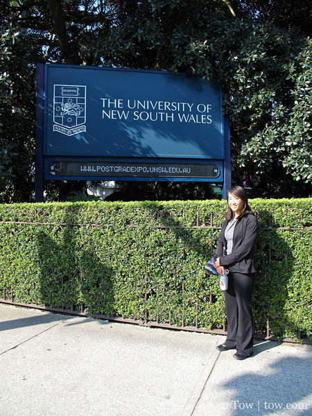Rae outside the entrance to the University of New South Wales.