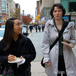 Rae and Andreea walking the streets of UPenn.