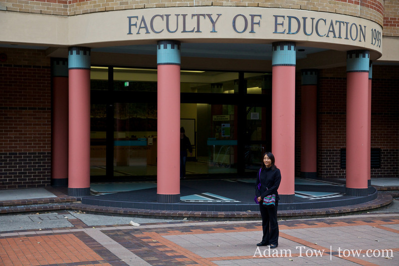 Rae outside the Education Building at the University of Sydney.