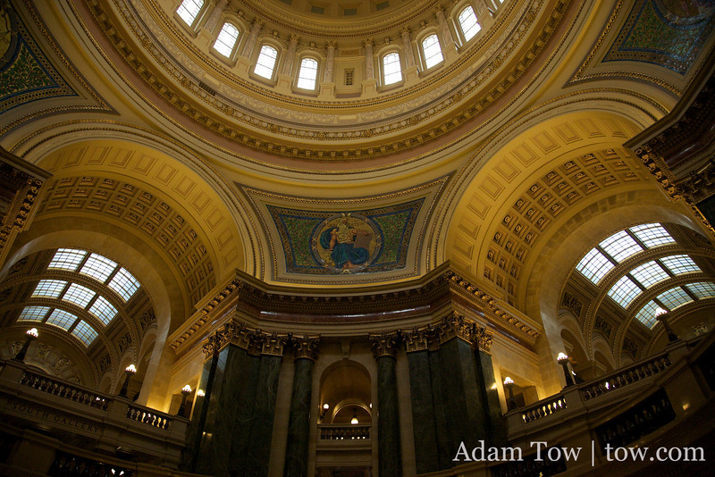 The rotunda inside the Madison Capitol building.