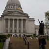 On the steps towards the Madison State Capitol.
