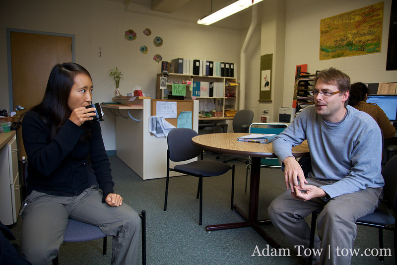 Rae talks with David in the CEAS office.