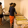 Students get some food before the screening.