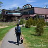 Rae walks to the Wang Student Center at Wellesley.