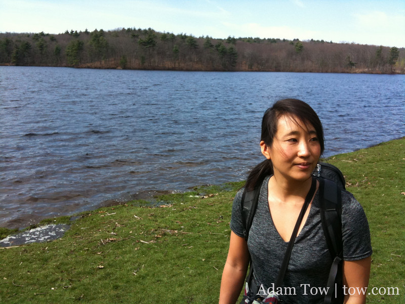 Rae on the shores of Lake Waban.