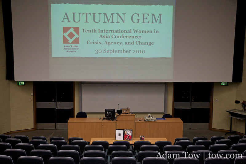Getting ready for the Autumn Gem screening.