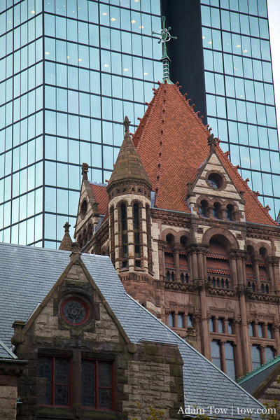 Old and new buildings.
