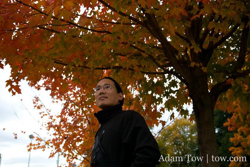 Under an Autumn tree.