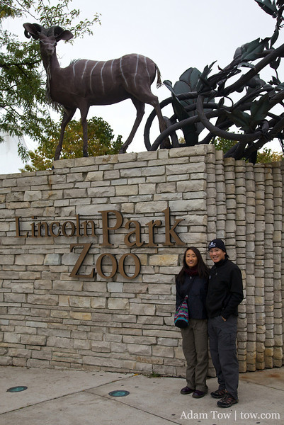 Rae and Adam outside the Lincoln Park Zoo.