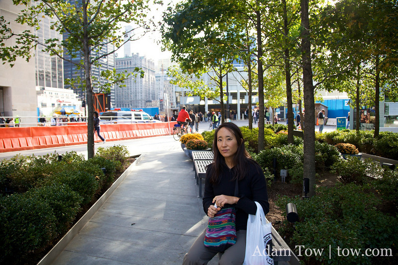 Taking a break near the site of the former World Trade Center.