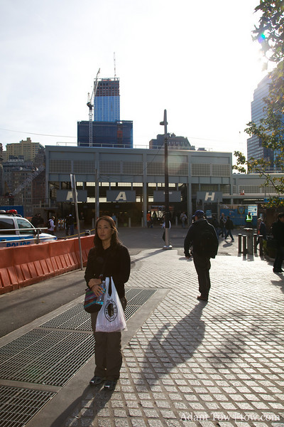 Rae stands near the site of the former World Trade Center.