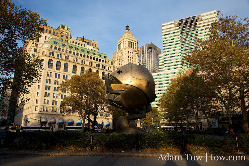This sculpture was formerly in the courtyard of the World Trade Center.