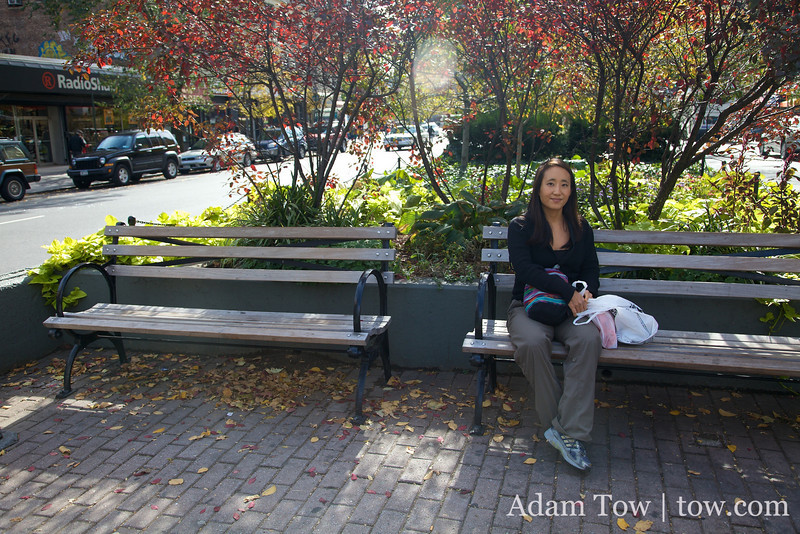 Lunch on a New York bench.