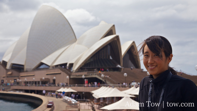 Rae outside the Sydney Opera House.
