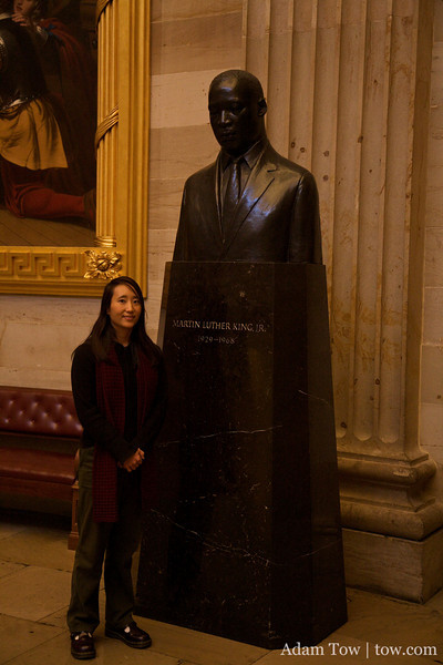 In the Capitol Rotunda, there's a bust of Martin Luther King, Jr.