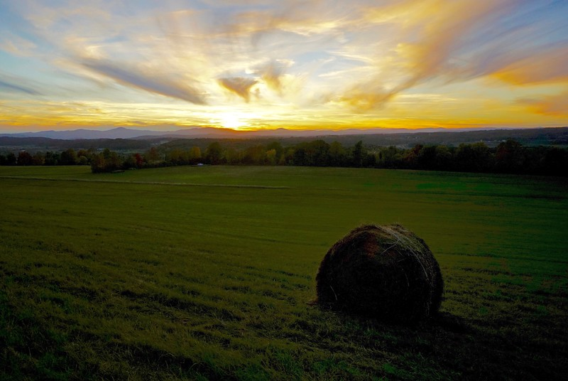 Hayfield and Sunset