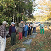 JHS Autumn Outing. October 15, 2017. At the White obelisk in Riverside Cemetery, Winchendon. Bill Driscoll expostulating.