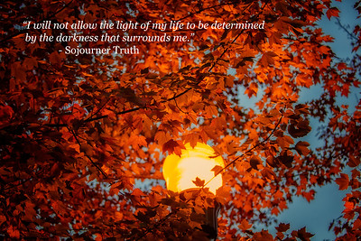 Sojourner Truth Quote light of my life Fall Maple Leaves Street Light Snoqualm PL North Bend WA 10-3-18