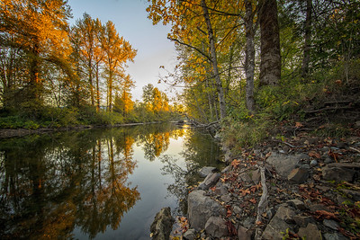 Snoqualmie River Fall Reflection Downstream Golden Hour 10-13-18