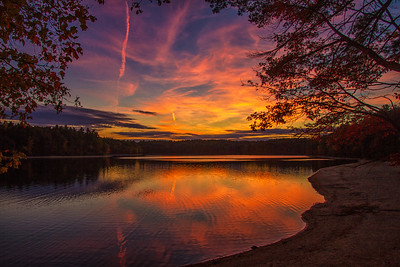 Walden Pond pink autumn sunset 10-8-15 - Copy