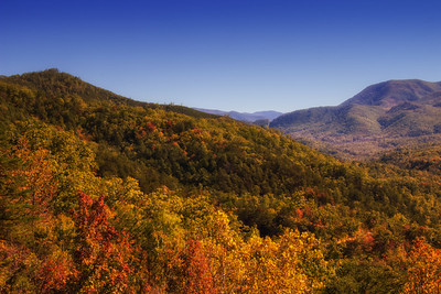 Smoky Mountain Fall Vista Blue Sky