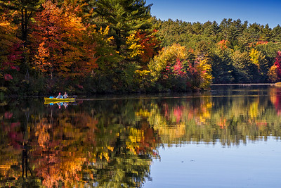 Turkey Pond Concord NH fall reflection yellow kayak closeup 10-12-15 - Copy