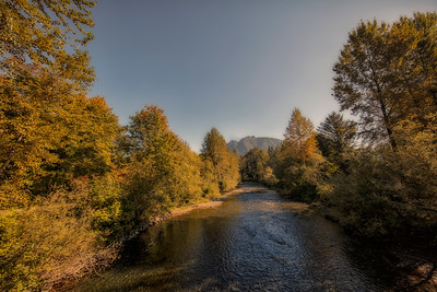 South Fork Snoqualmie River Downstream Mt Si Background Early Fall 9-28-18